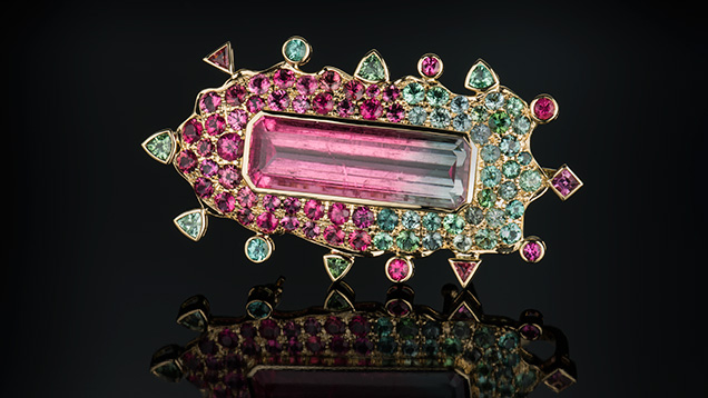 Bicolour Tourmaline Pin