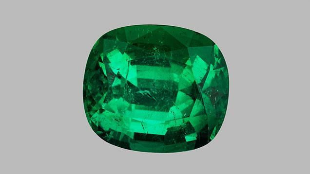 Cushion-cut Afghan emerald