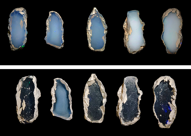 Opal slices before and after water immersion