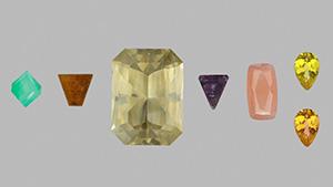 Six rare gemstones