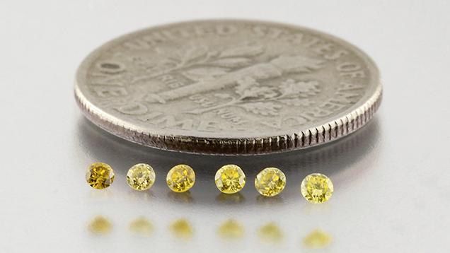 Six HPHT yellow melee diamonds