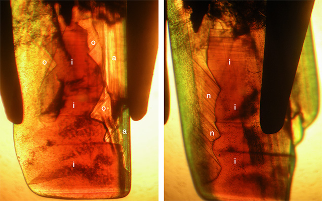 Growth zoning associated with sectorial color zoning in chrysoberyl