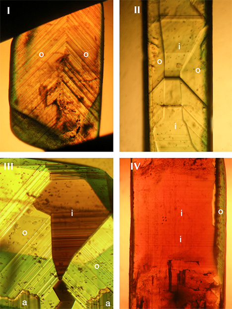 Growth zoning of chrysoberyl from New South Wales, Australia, groups I through IV