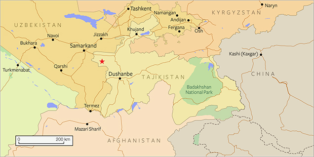 Map of Central Asia and Tajikistan