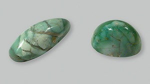 Two variscite cabochons from central Tajikistan