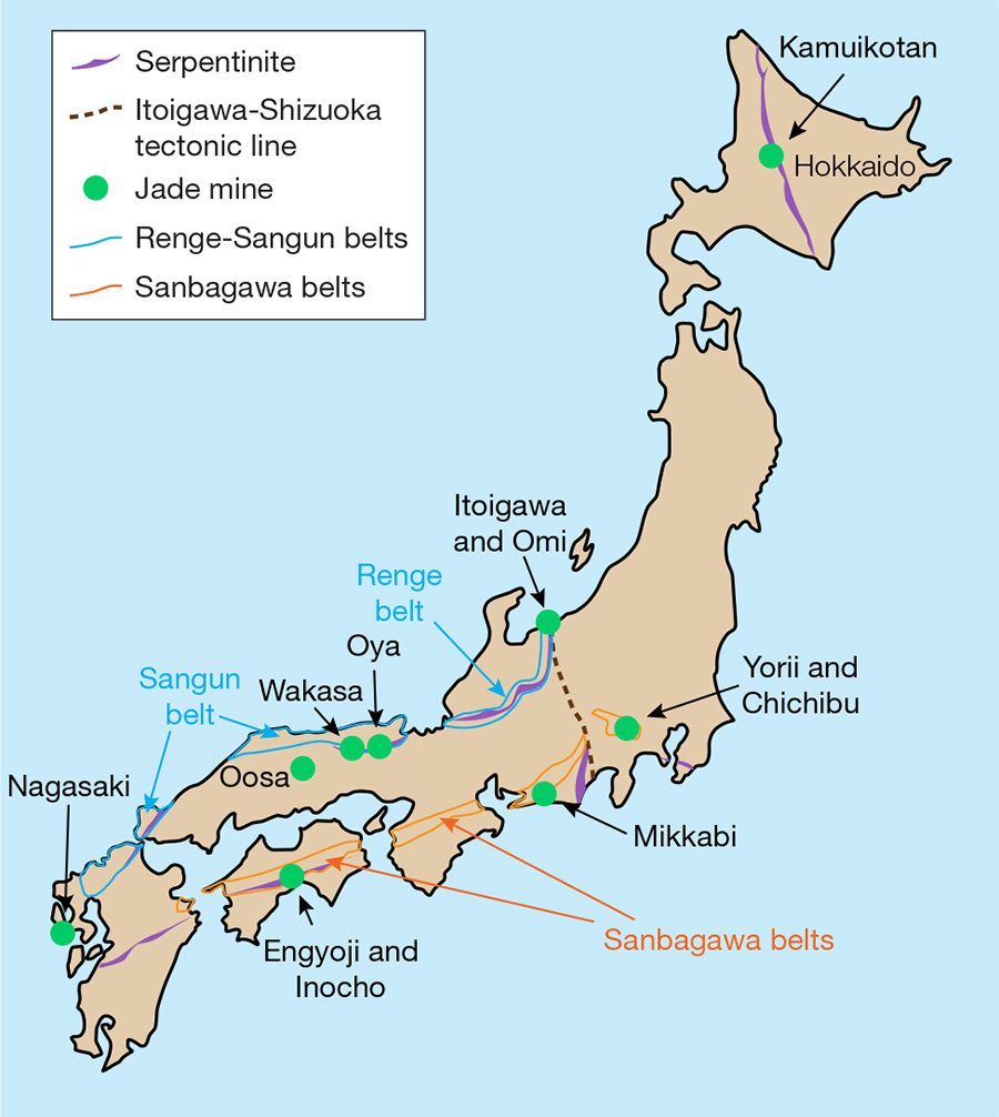 Japanese jadeite localities