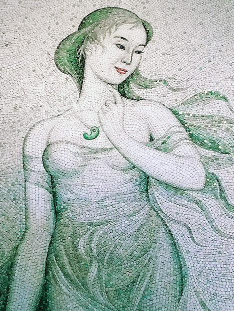 Mosaic painting made with Japanese jadeite