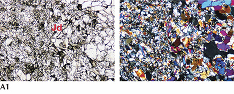 Petrographic microscope images of jadeite from Itoigawa, Japan