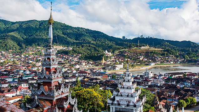 The town of Mogok in Myanmar
