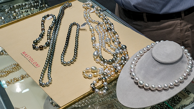 Innovative cultured necklaces available at Mastoloni's AGTA booth.