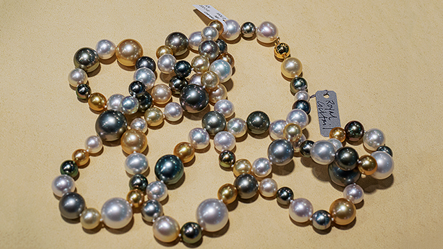 """Cocktail"" necklace uses Tahitian, Philippine, and Australian South Sea cultured pearls."