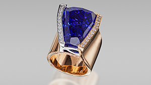 Blue freeform tanzanite in ring.