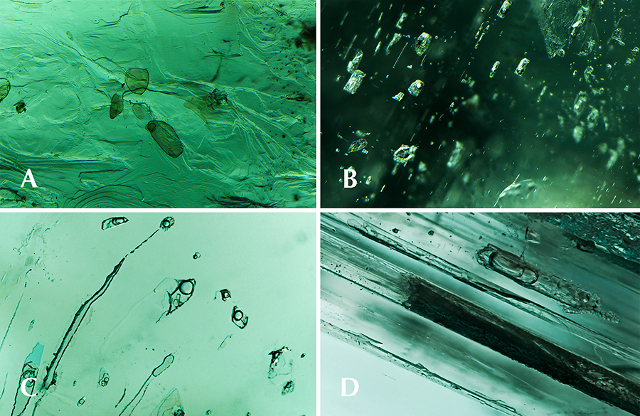 Microscopic features observed in Ethiopian emerald