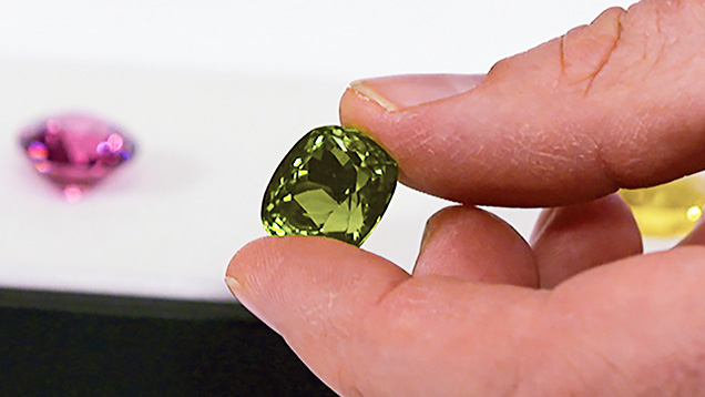 Burmese peridot with inclusions