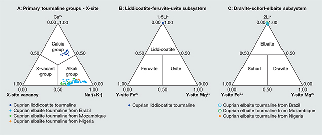Tourmaline group classification of cuprian liddicoatite samples