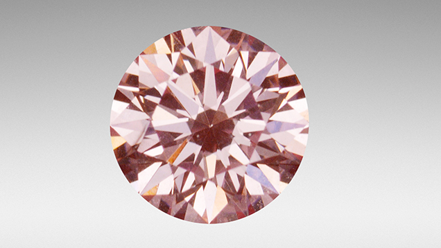 Pink CVD synthetic diamond with H4 defect.