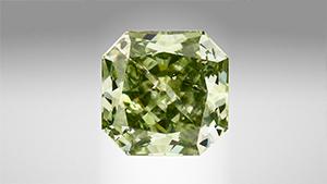Green HPHT synthetic diamond.