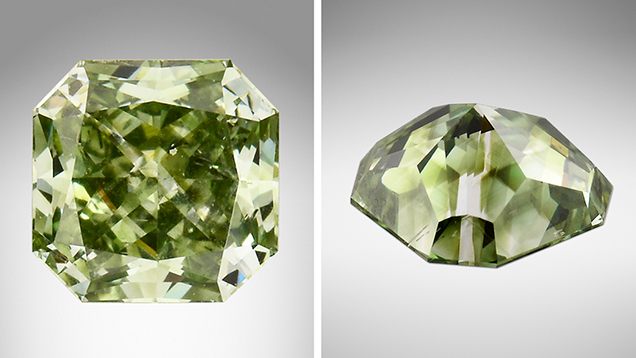 Green synthetic diamond