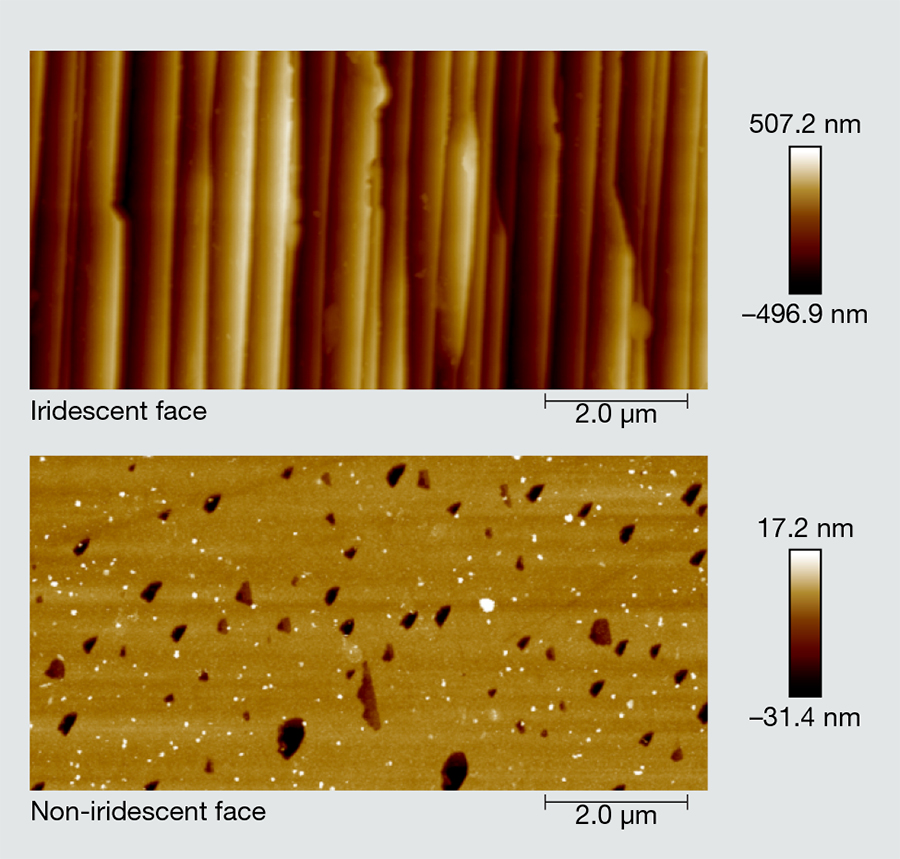 Atomic force microscopy images of iridescent and non-iridescent faces in quartz