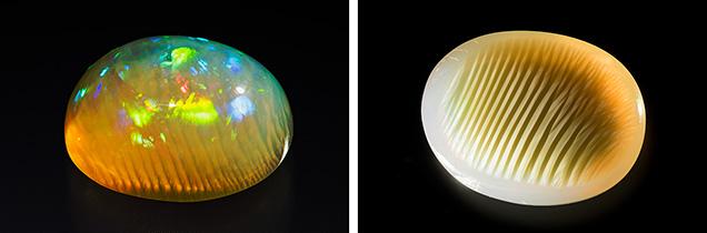 Ethiopian precious opal showing chatoyancy.
