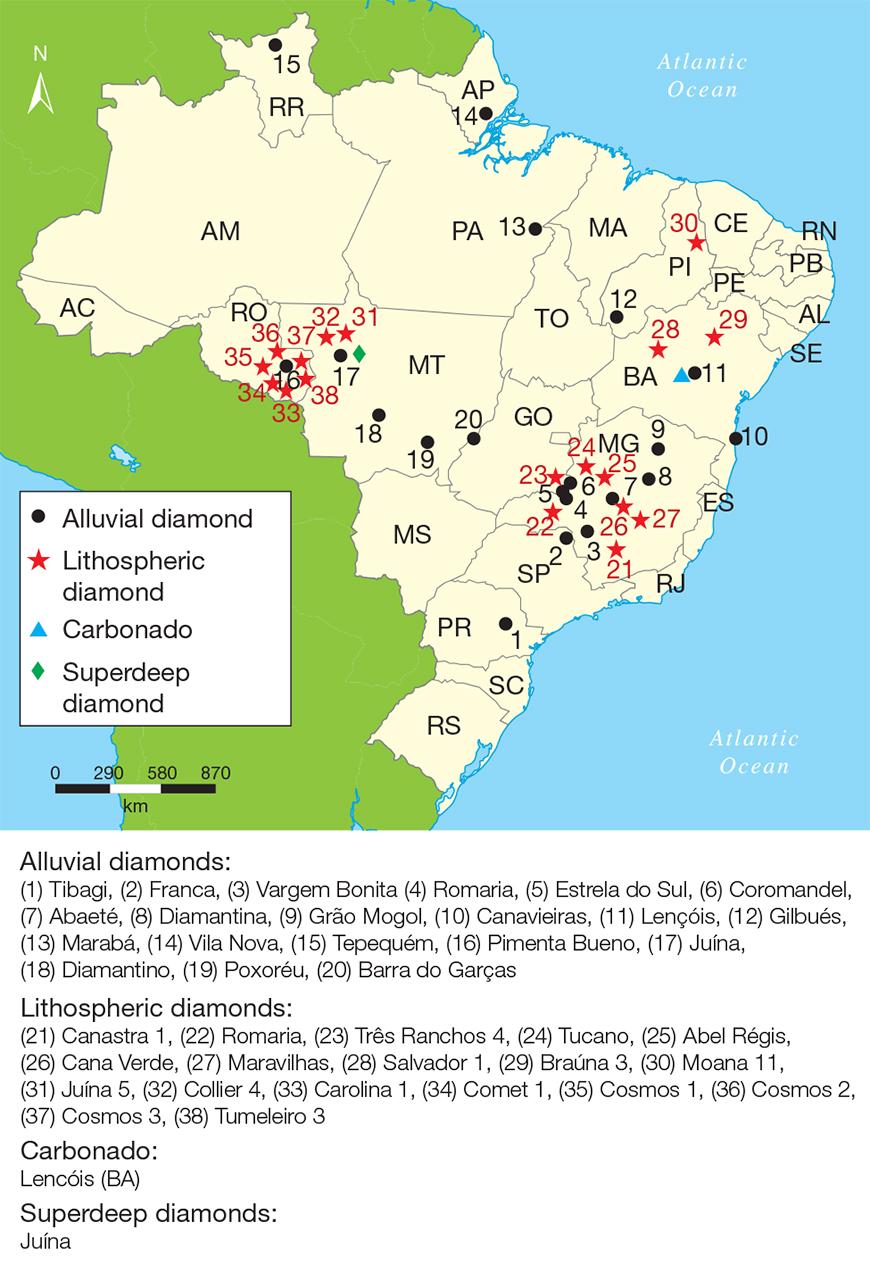 Map of Brazilian diamond mining areas