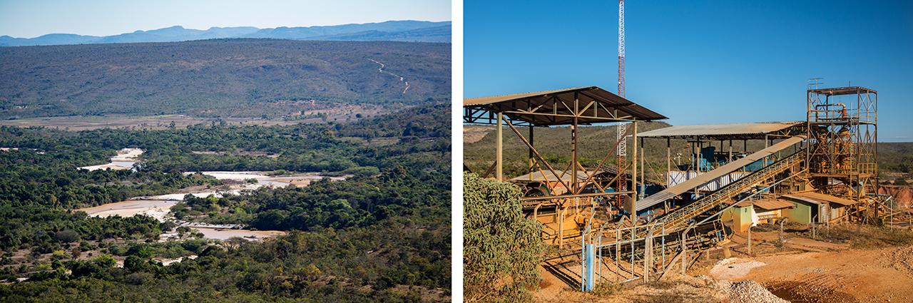 Large alluvial diamond mining operation in Brazil