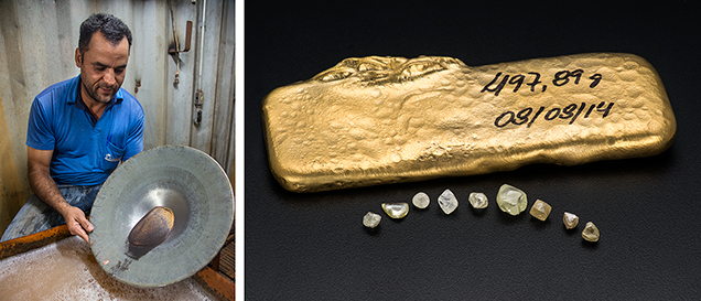 Gold from the Duas Barras mine, Brazil