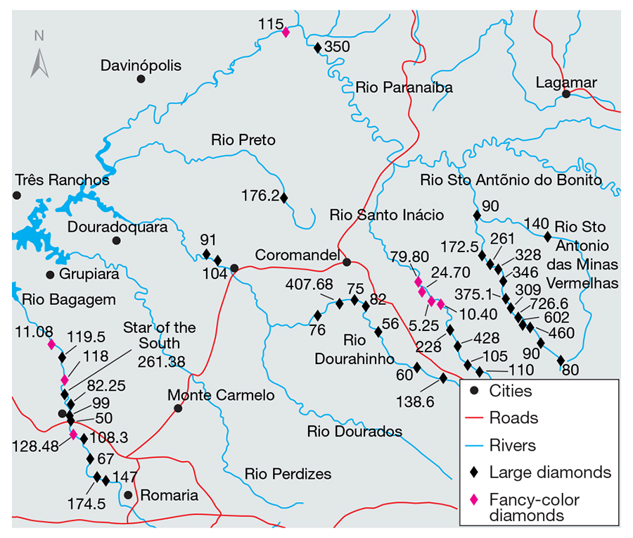 Sites of large Brazilian diamond discoveries