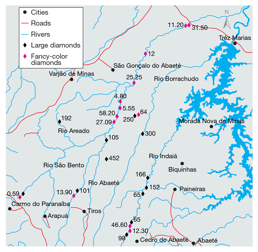 Map of river systems in Minas Gerais, Brazil
