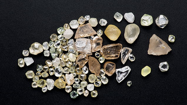 Diamond crystals from the Jequitinhonha River, Brazil