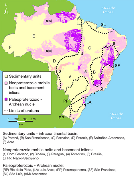 Map of Brazil's major geological regions
