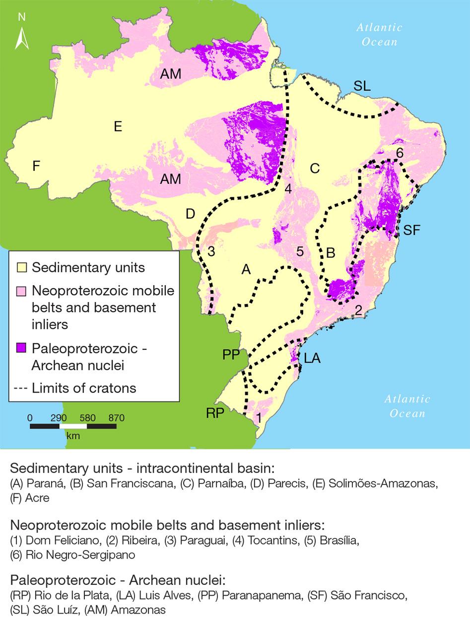 Map of Brazil's major geological regions