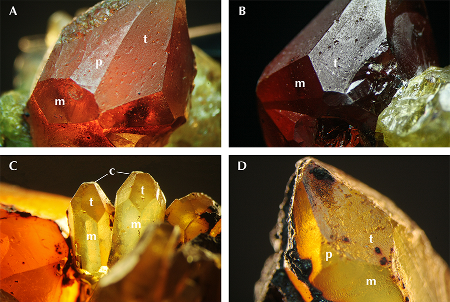Main crystal faces of by-product synthetic zincite