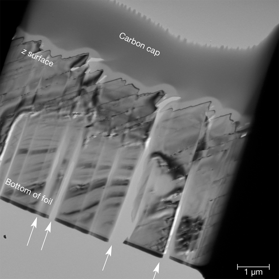 Brightfield TEM image of section of iridescent quartz face