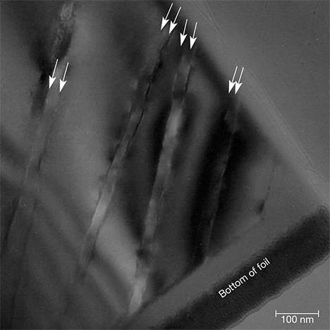 TEM image of paired twin boundaries in quartz
