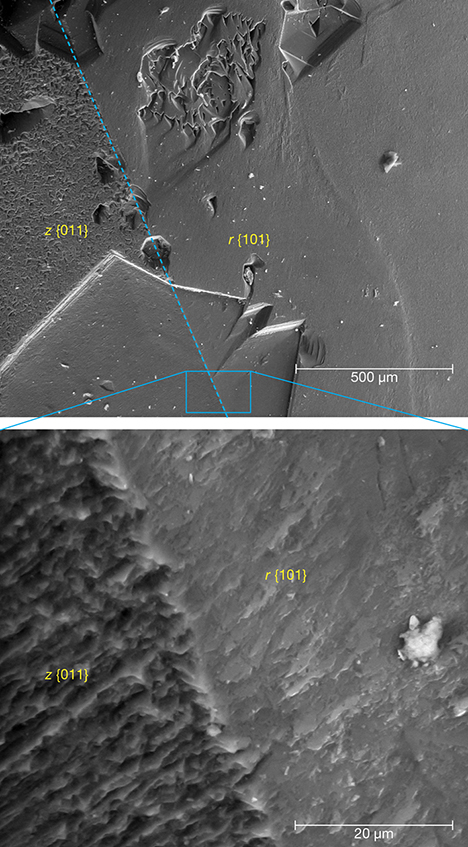 SEM images of iridescent z {011} and non-iridescent r {101} faces