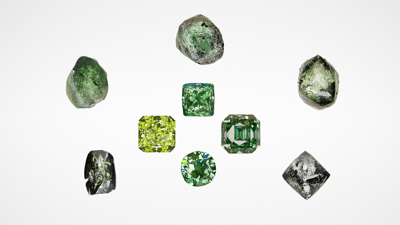 Rough and faceted natural-color green diamonds.