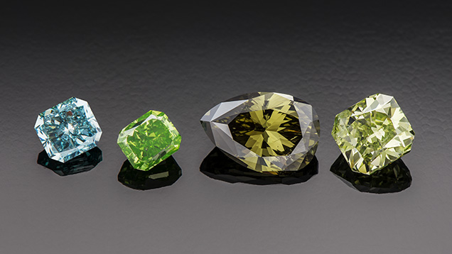 Ranges of hue in natural-color green diamonds.