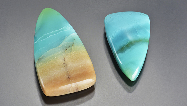 Indonesian opal cabochons, 6.94 and 3.79 ct.