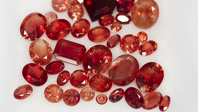 Orangy red sunstone from the Ponderosa mine