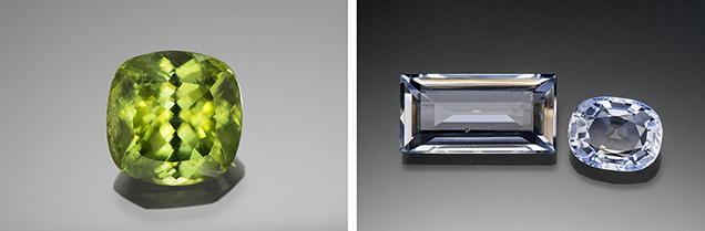 A 24.96 ct sphene from Zimbabwe (left) and sillimanites from Sri Lanka and Myanmar (right)