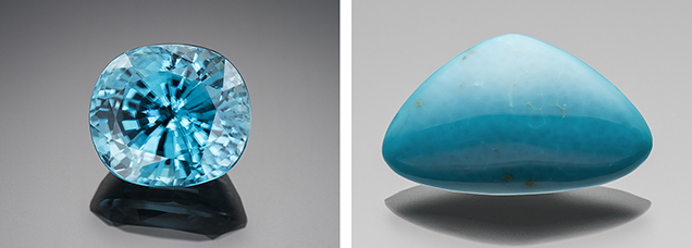 36.11 ct electric blue zircon (left) and 23.90 ct chrysocolla (right)