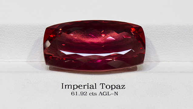 A 61.92 ct Imperial topaz purchased on the secondary market.