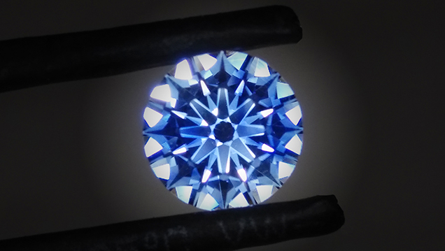 A blue sapphire recut by Rex Guo to optimize light performance.