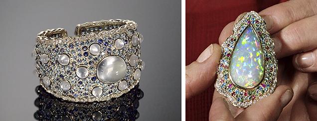Moonstone cuff and opal pendant by Paula Crevoshay