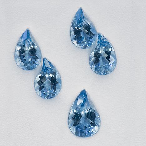 Five aquamarines cut by Arnoldi International