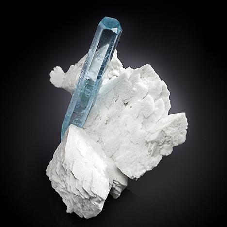 Aquamarine crystal on feldspar from Pakistan's Shigar Valley.