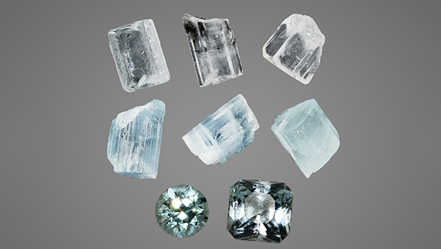 Rough and faceted aquamarine from the Shigar Valley.