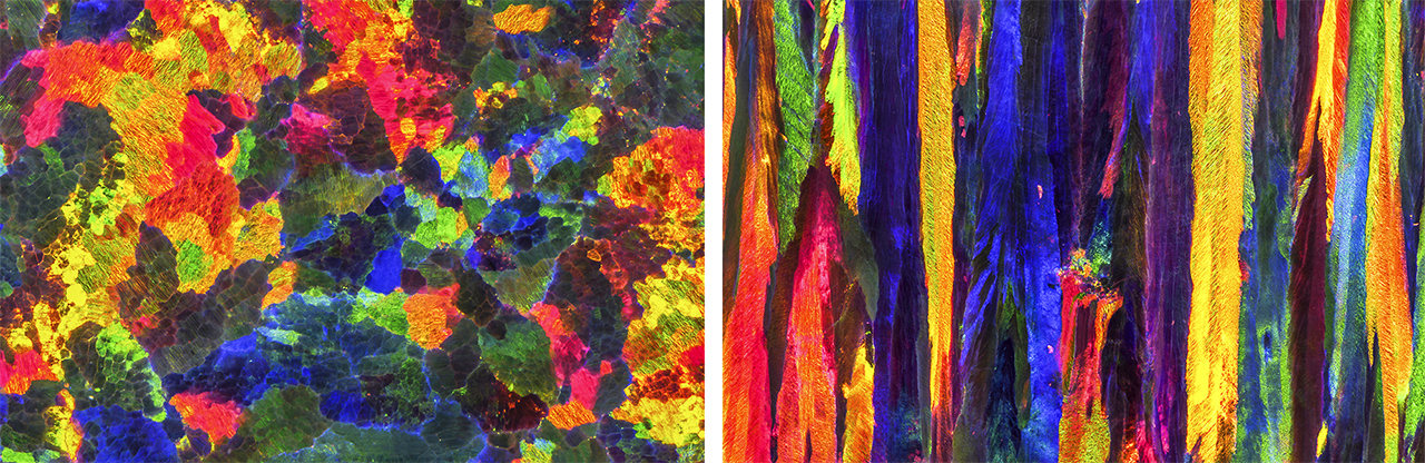 Patterns in synthetic opal that are not seen in the new product.