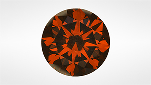 Brown-orange treated CVD-grown synthetic diamond.